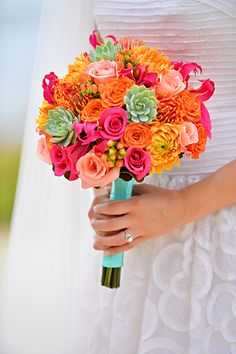 Show your fun personality on your wedding day with a bright and colorful bouquet