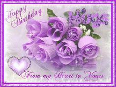 Happy Birthday from my heart to yours Purple Happy Birthday, Happy Birthday Niece, Birthday Hug, Happy Birthday Greetings, Happy Birthday Quotes, Birthday Cards, Party Background, Birthday Pictures, Purple Flowers