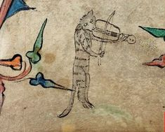 cat & fiddle British Library, Book of Hours, England, S. E., London, c 1320-1330, Harley 6563 f. 40