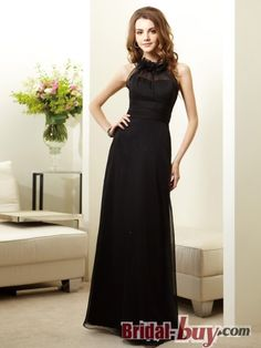 Inexpensive Affordable Princess Round Neck Ruched Long Chiffon Bridesmaid Dresses WPBD-9735