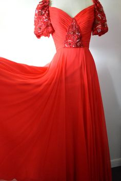 Vintage Dress 1970s 1980s Richilene Red Gown with by EadoVintage