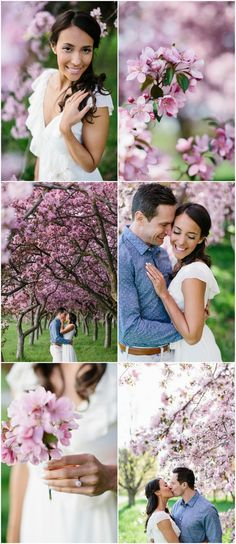 Their engagement shoot happened at a 'secret' crab apple blossom field, in Ottawa. Their natural, boho look and style matched perfectly with the gorgeous backdrop. We waited patiently for Canada's long winter to end, and for the blossoms to show. We spent a warm, early spring evening shooting this session in the golden light. Photography: Grace & Gold Studio