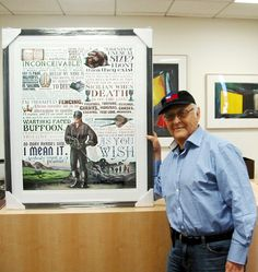 """Executive producer of """"The Princess Bride"""" and 70's sitcom genius Norman Lear poses with his framed ChetArt Princess Bride art."""