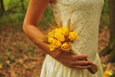 Autumn, yellow roses, bouquet, lace, ttd.  by Purple Effect Events