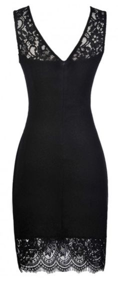 Best LBD Ever to have with free shippingeasy return Now! This lace splicing dress is detailed with body-con fit, v-backv-neck! Show it off! Curvy girl!
