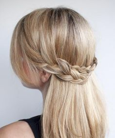 Half Crown Braid: If you have medium to long hair, this elegant style offers the benefits of wearing your hair down while keeping it out of your face. Just two simple braids will make your co-workers think you spent the entire morning prepping.