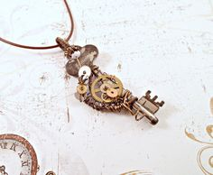 Steampunk Key and Gears Necklace by MelsMakeBelieve on Etsy, $32.00
