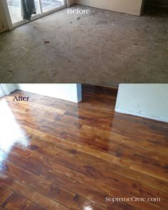 Whoa! Concrete floor stain to look like wood.