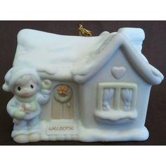 Enesco's Precious Moments Sugar Town Village - Sam's House Porcelain Hanging Christmas Ornament - Signed 1994 Trumpet 530468 NIB || Available for sale via the pin's link. To see our complete collection of Christmas Ornaments available, check out our store under the Collectibles > Ornaments category at http://purpleiris.ecrater.com/c/1539905/ornaments