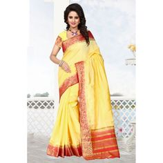Ethnic Wear Raw Silk Yellow & Red Saree - 16487