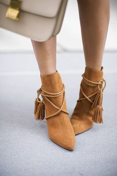Schutz Suede Fringed Booties Shoes Inspo