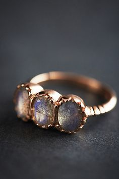 Labradorite Trinity Ring in 14k Rose Gold #anthropologie--would be cool custom, with real stones!