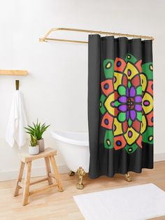 """Flower of Life Mandala"" Shower Curtain by Pultzar 
