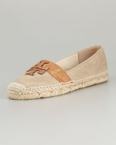 LOVE THESEE Weston Flat Espadrille, Metallic/Tan by Tory Burch at Neiman Marcus.
