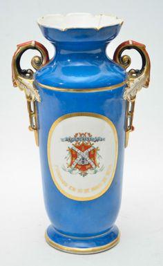 VIEUX PARIS - Belíssima e antiga ânfora de coleção em porcelana francesa do Séc. XIX na cor azul pre
