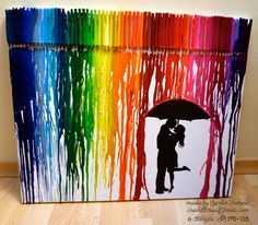 Melted Crayon Art - Umbrella - Rainbow - Wachsmalstifte