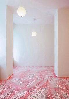 Looking to spice up a  white room? Try coloring on the floor with permanent markers || credit: Bored Panda [http://www.boredpanda.com/permanent-marker-installations-heike-weber/]