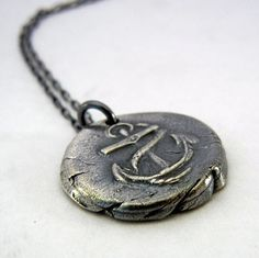 Anchor Charm Necklace Wax Seal Style Fine by eriadesignsjewelry