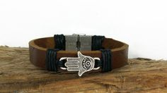 Men's Bracelet, Genuine Leather Bracelet, Light Brown Leather,Hamsa Cuff and Steel Clasp Bracelet, For Men Gift