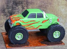 Rock Climber Truck Cake - Cake by Hima bindu Monster Truck Birthday Cake, Monster Truck Party, Monster Trucks, Baby Birthday, Birthday Ideas, Gravity Defying Cake, Truck Cakes, Big Wheel, Pastries