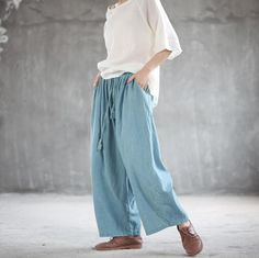 Linen wide leg pants, Denim blue long pants, loose pants, Oversized pants Wide Leg Linen Pants, Wide Leg Trousers, Colored Denim, Blue Denim, Oversized Shirt Outfit, Green Wool Coat, Linen Tunic Dress, Green Maxi, Hooded Dress
