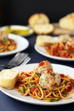 Fire Roasted Tomato Zucchini Pasta with Turkey Meatballs Recipe