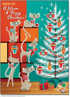 Our Modern Cats Christmas Cards wish everyone a warm and fuzzy Christmas with this fun card featuring cute cats and a mid century modern aluminum Christmas tree. Those kitties are up to some Christmas mischief!  8 cards & envelopes $12.00 | Folded Card Size 4.5″x 6.25″