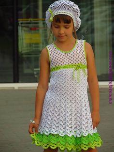 Receita de Crochê Infantil: VESTIDO DE CROCHE COM SAIA DE BABADOS