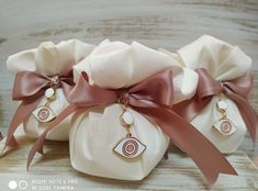 Wedding, Baptism Favor with Evil Eye Charm and Large Satin Bow Baptism Favors, Baptism Party, Evil Eye Charm, Satin Bows, Decor Crafts, Wedding Favors, Unique Gifts, Handmade Items, Buy And Sell