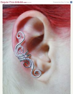 PreHoliday Sale 10 off Ear Cuff  Silver Woven by ShutUpAndCuffMe, $16.20