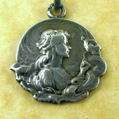 Antique Art Nouveau French Silver Dropsy Woman Morning Glory Charm Pendant | eBay