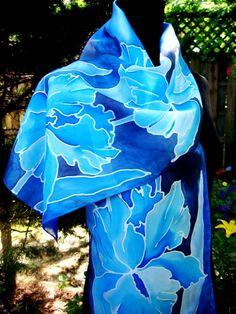 46 IRISES Hand Painted SILK SCARF Blue