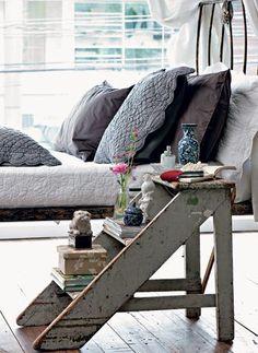 Step ladder as bedside table.