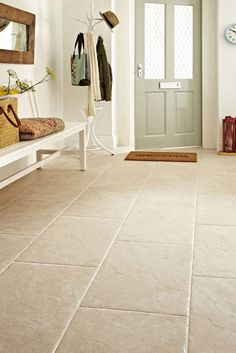 Devon Bone from Topps Tiles - potential for the dining room floor Nice front door for light and flooring Hall Tiles, Tiled Hallway, Room Tiles, Tile Entryway, Entryway Flooring, Hall Flooring, Living Room Flooring, Kitchen Flooring, Kitchen Floor Tiles