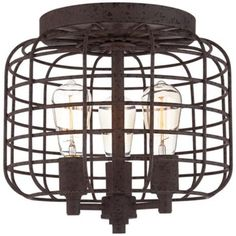 Larkin Industrial Rust Metal Cage Ceiling Light -