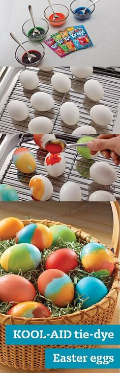 KOOL-AID Tie-Dye Easter Eggs – As cool as they are, Tie-Dye Easter Eggs are super easy to make—especially with these step-by-step instructions! This kid-friendly craft will make the whole family's holiday a little more colorful. Click here for more tips on how to make coloring Easter eggs extra special.