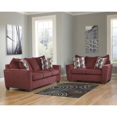 Brogain Burgundy Chenille Fabric Upholstered Contemporary Sofa And Loveseat Set - Main Image