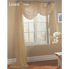 LINEN TAUPE TAN SAND SCARF SHEER VOILE WINDOW TREATMENT CURTAIN DRAPES VALANCE
