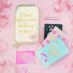 too faced makeup, makeup flatlay, mascara, eyeshadow, eyeshadow palettes, pink flatlay