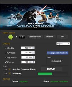 Star Wars Galaxy of Heroes Hack Cheats Crystals and Credits What's up everybody. In the event that you need hack as to Star Wars then this will be remarkable site reasonable for you. By technique for the hack you can secure Credits and Crystals unquestionably inside minutes.It is not critical when you get a kick …