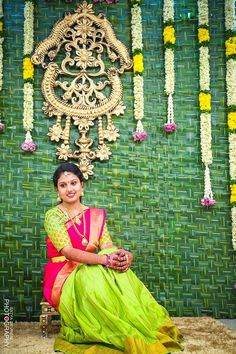Coconut leaves backdrop for haldi ceremony Desi Wedding Decor, Wedding Mandap, Wedding Stage Decorations, Engagement Decorations, Backdrop Decorations, Flower Decorations, Wedding Events, Wedding Ideas, Wedding Planning