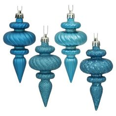 """8ct Turquoise Blue 4-Finish Regal Shatterproof Finial Christmas Ornaments 4"""" by VCO, http://www.amazon.com/dp/B00486NC3E/ref=cm_sw_r_pi_dp_Rb8Tqb1JQYXT8"""