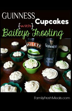 Best St. Patrick's Day cupcakes!  Guinness Cupcakes with Bailey's Frosting. YUM!