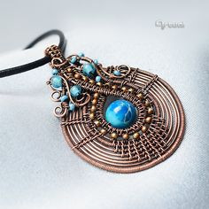Copper wire jewelry blue jasper pendant copper wire pendant
