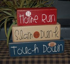 Cute for on a shelf. Primitive SPORTS Wood Sign Blocks Homes Run by SimpleBlockSayings, $26.95