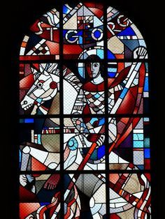 Another great window (St. George) in a church in Stephanskirchen near Rosenheim in Germany. Stained Glass Paint, Stained Glass Windows, Patron Saint Of England, Greek Soldier, Saint George And The Dragon, St Georges Day, Roman Gods, Patron Saints, Nature Images