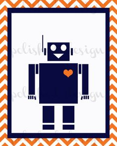 Robot-themed room? This Etsy artist will do the print in custom colors, so, yellow and gray?