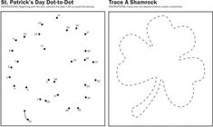 Shamrock Worksheets for Kindergarten and Preschool - Trace & q-tip paint inside then cut out