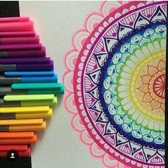 ❤️ Art by: Mandala, Steadtler Triplus Fineliners Mandala Art, Mandala Doodle, Mandala Drawing, Doodle Art, Art It, Sharpie Art, Pen Art, Zentangle Patterns, Zentangles