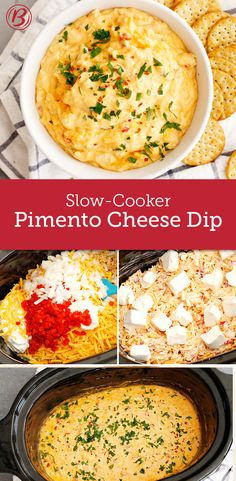 The crowd will go wild for this classic Southern cheese dip that's made easy with a little help from the slow cooker. To add a touch of Tex-Mex flair, add 1/2 cup red or green salsa to the mixture before topping with cream cheese and cooking.